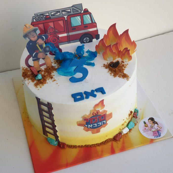 עוגה מעוצבת עם דמויות סמי הכבאי